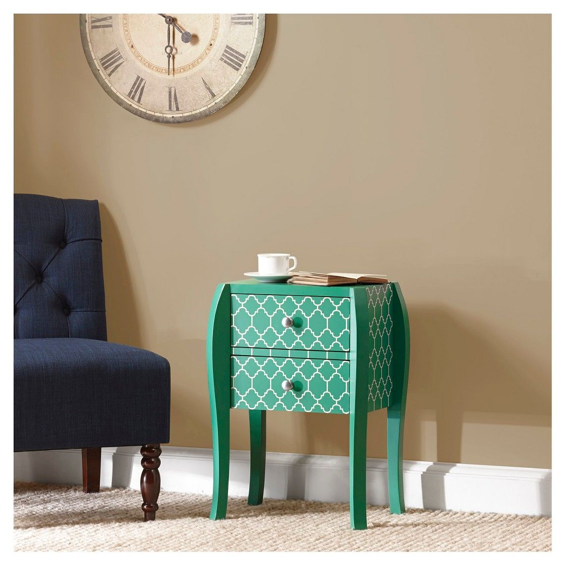 qautrefoil bombay end table green boy stuff emerald accent inch wide nightstand weber grill white sliding barn door decorative wine rack huge wall clock hammered metal coffee ikea