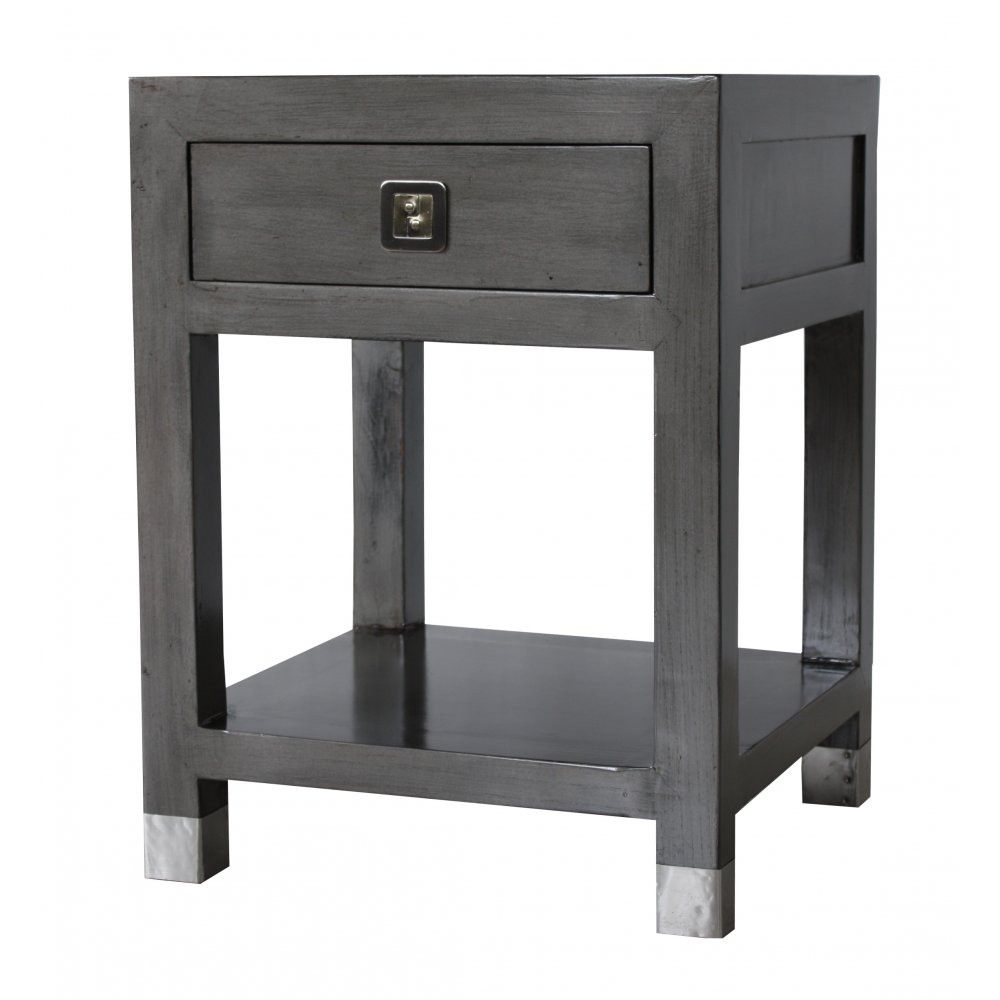 qing dao graphite grey contemporary side table patio round accent sainsburys kitchen diner mini chest drawers retro style chairs wooden storage crates ikea room essentials