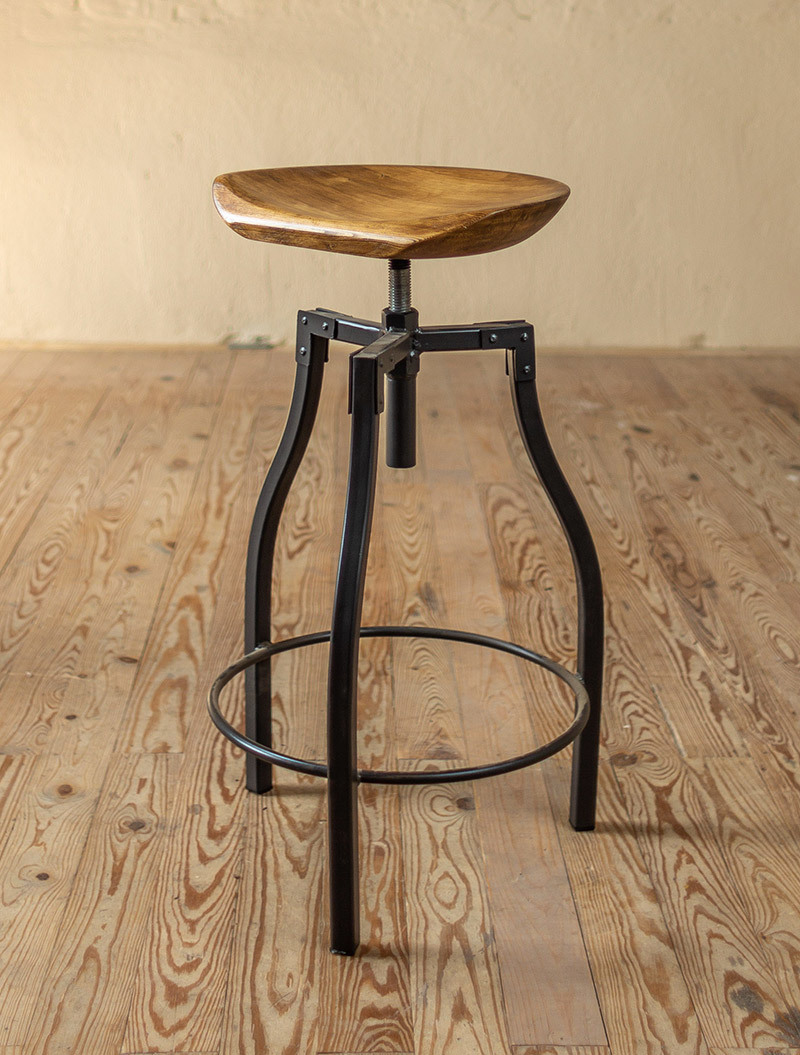 quarry barstool accent table hand forged iron stool with sculpted wood seat leather dining room chairs metal lamp small lights battery operated dewalt outdoor sofa set black
