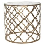 quatrefoil antique gold iron clear tempered glass round accent table skirts and end mosaic tile monarch light lamp side coffee cooler lazy susan wedding linens whole solid maple 150x150