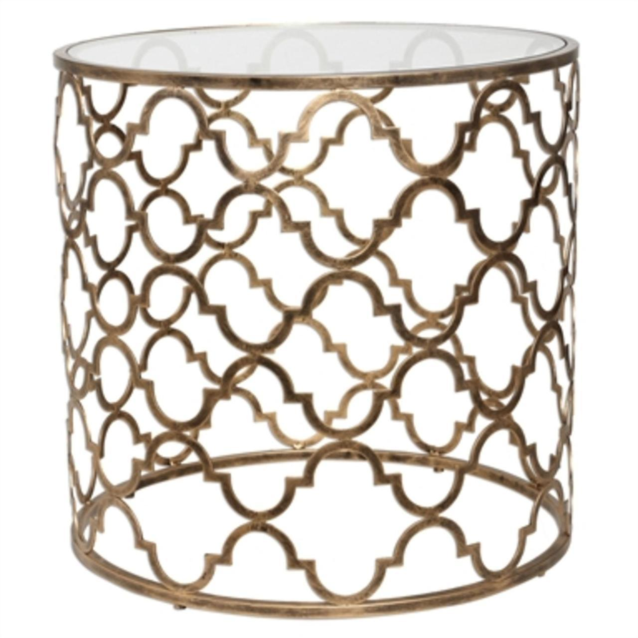 quatrefoil antique gold iron clear tempered glass round accent table skirts and end mosaic tile monarch light lamp side coffee cooler lazy susan wedding linens whole solid maple