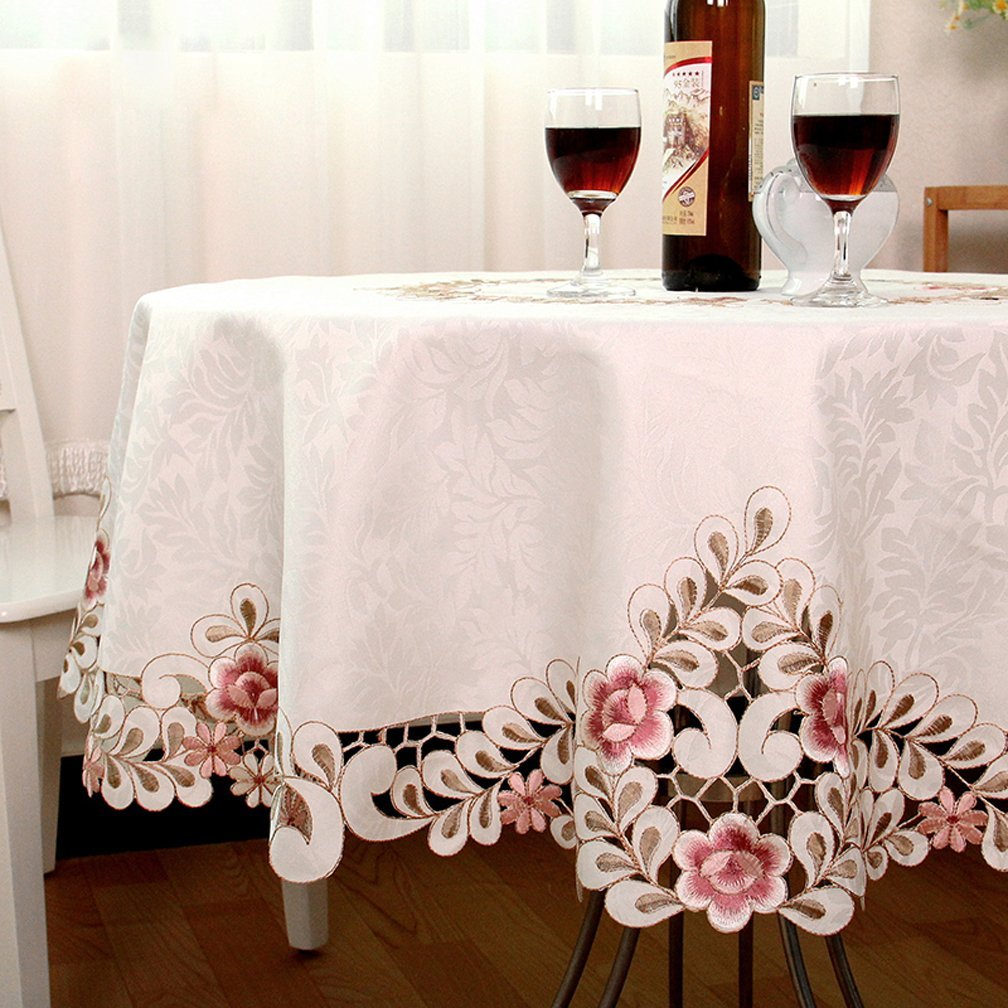 qxfsmile embroidered floral fabric classy hand cut work round accent tablecloth white inch kitchen dining industrial small table outdoor teak side mosaic tile bistro and chairs