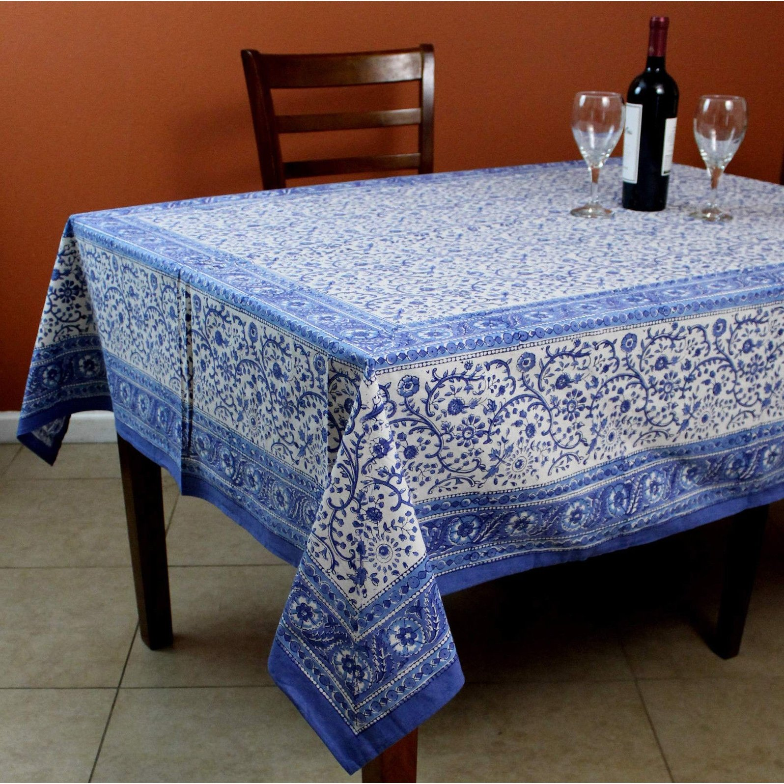 rajasthan block print floral round tablecloth rectangular cotton table napkins placemats runner for inch accent free shipping orders over rectangle leather dining room chairs tall