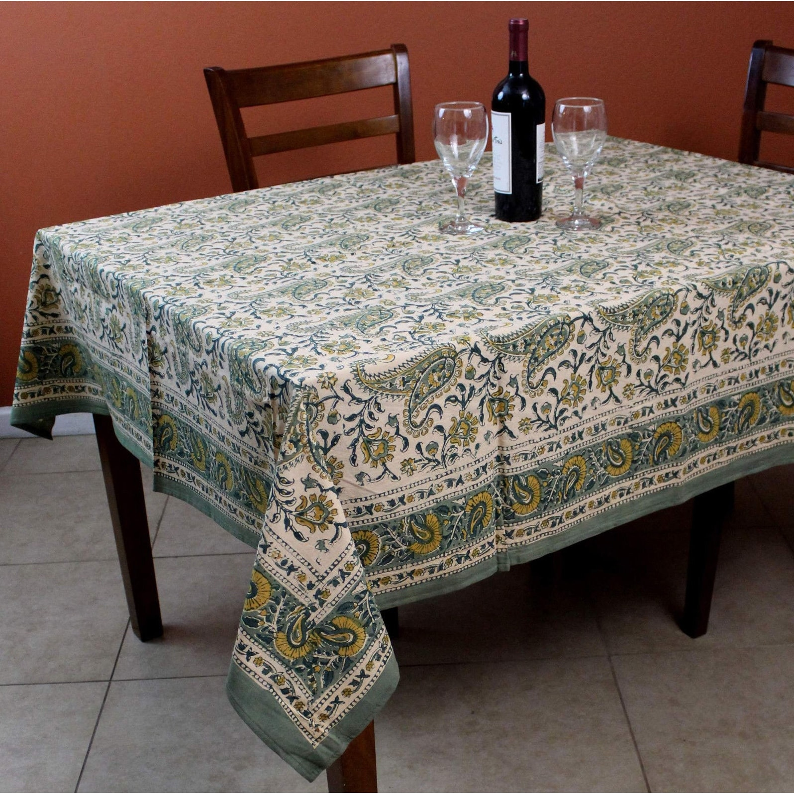 rajasthan paisley cotton block print floral tablecloth rectangular square round linen accent free shipping orders over distressed wood coffee table very narrow end arcadia