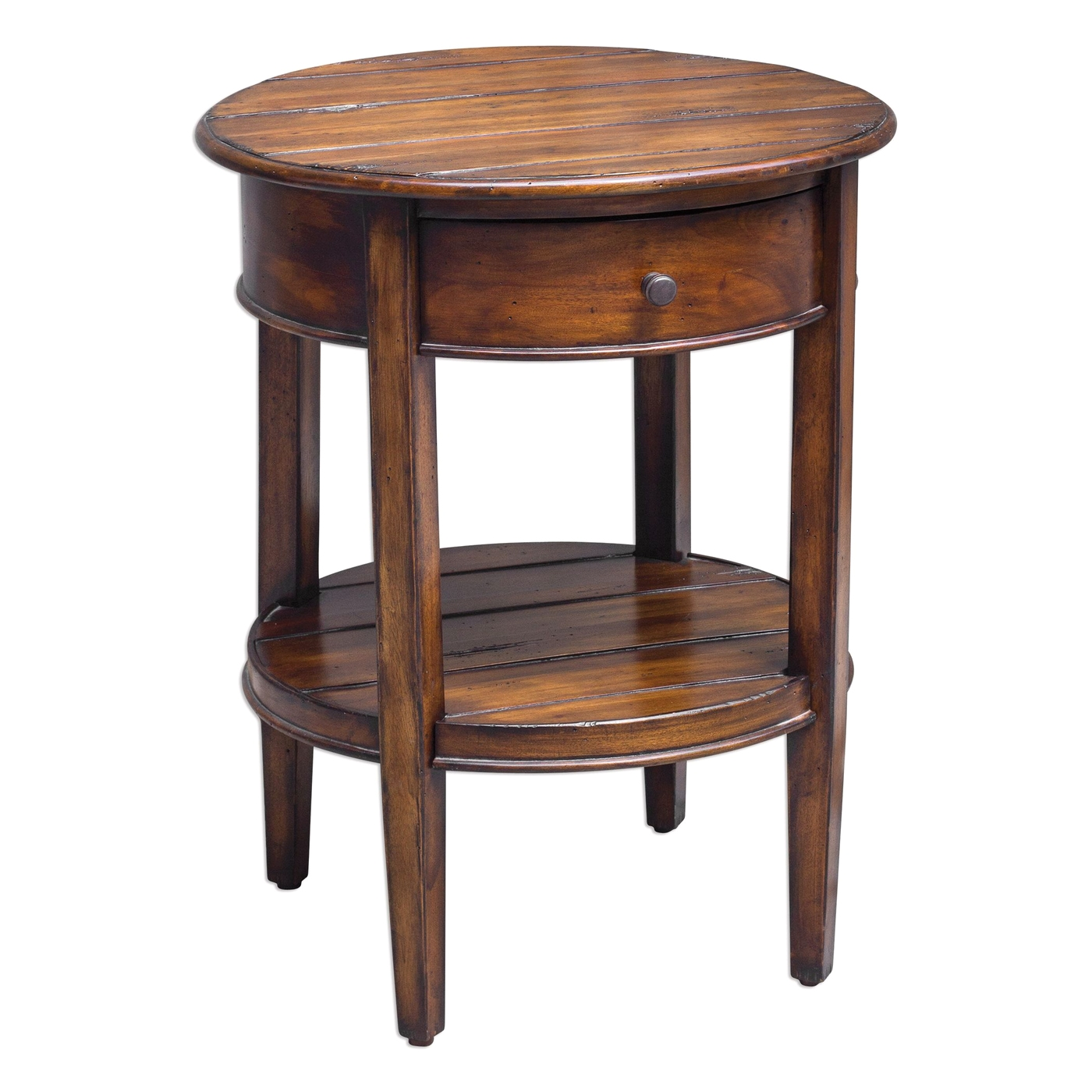 ranalt round deep grained mahogany accent table with antique white unusual tables small black lamp metal folding side meyda tiffany pendant lights pottery barn flooring rustic