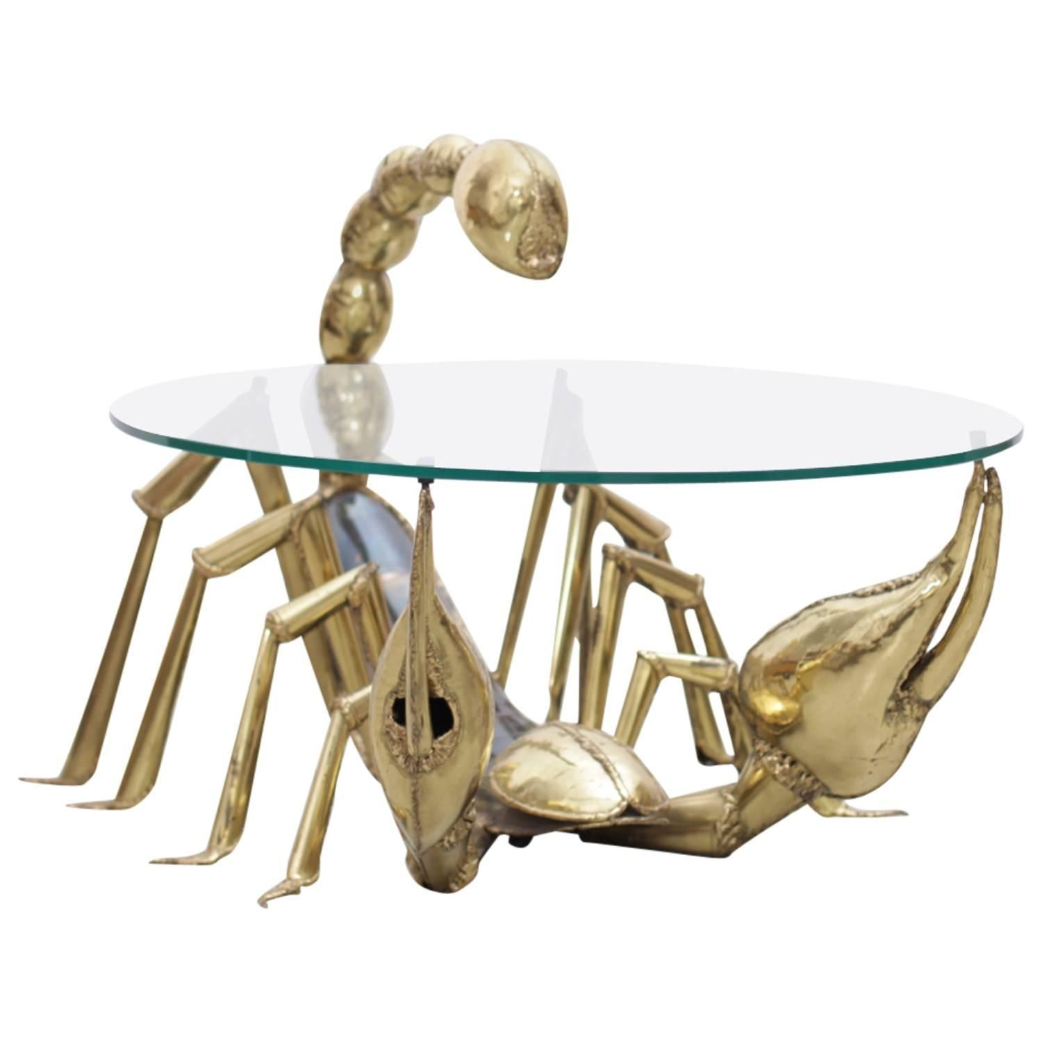 rare illuminated brass scorpion coffee table jacques duval antique gold faceted accent with glass top brasseur see more and outdoor fireplace white cloth placemats pineapple