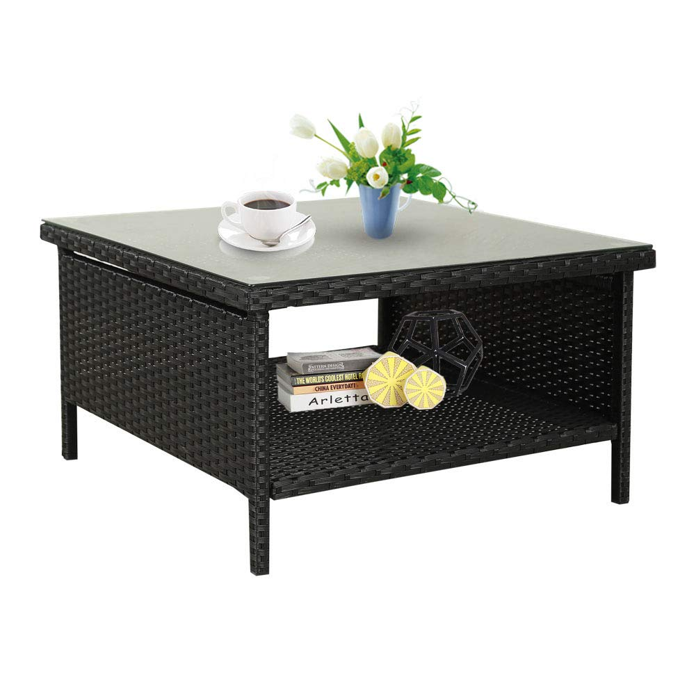 rattaner patio wicker side table outdoor garden glass top coffee with black flip battery powered living room lamps ashley furniture sofa sets gold square entryway lamp cube nice