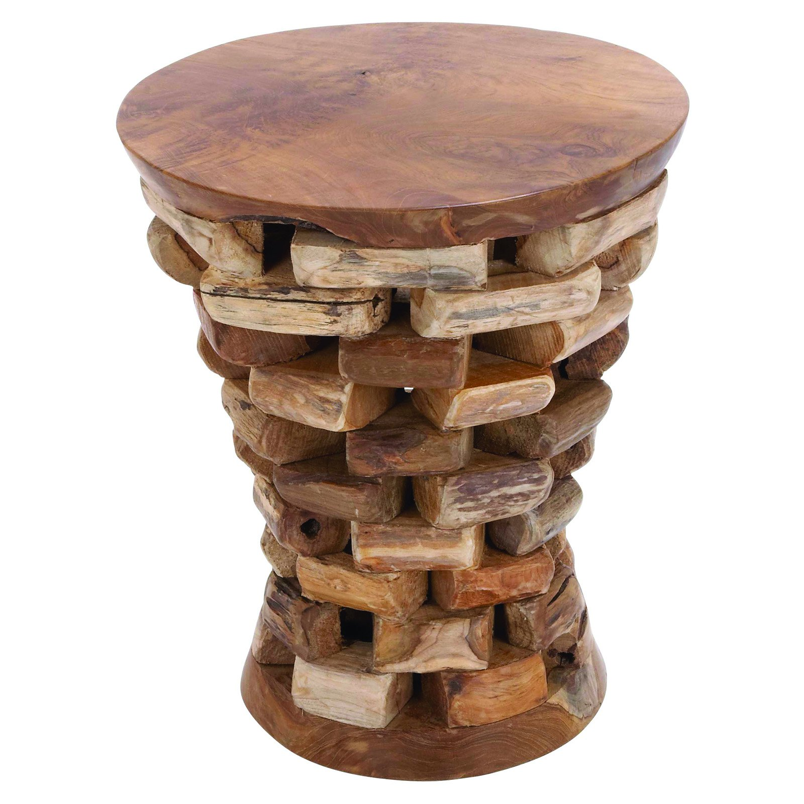 raw wood table probably super awesome drum end tables natural top benzara round shaped teak wooden accent sears living room furniture vintage lane rustic dining chairs oval patio