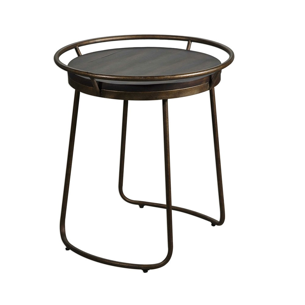 rayen round accent table copper iron uttermost rustic coffee nested furniture floor separator marble top rectangle interior ideas long white nesting cocktail set amazing tables