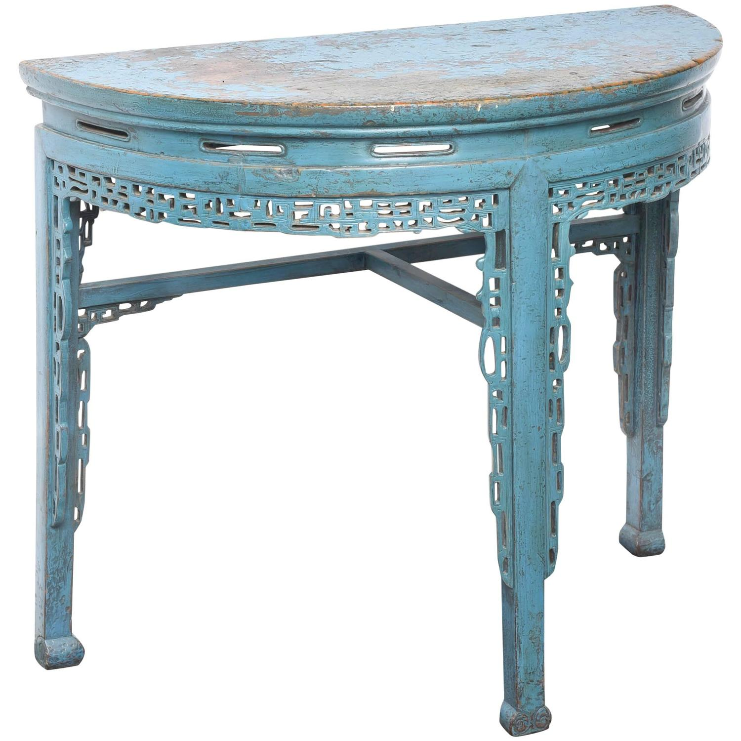 ready made table legs the outrageous beautiful teal round end century chinese hand painted half console rustic coffee and tables ikea standing desk hack off white side fancy floor