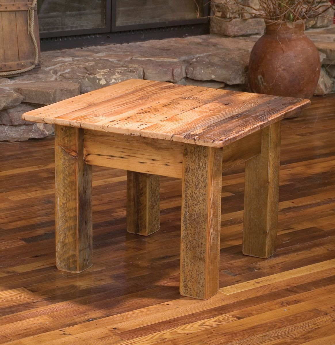 reclaimed barn wood furniture rustic mall timber regarding end table decorating unfinished accent architecture uttermost samuelle fir with regard side chairs inch square