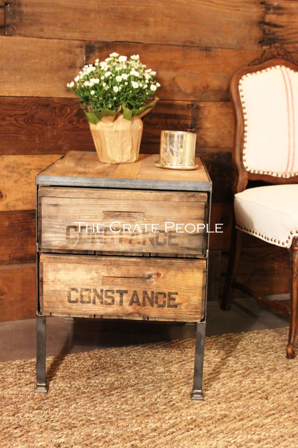 reclaimed barn wood vintage crates side table accent metal sylvia foundinattic etsy cream linen tablecloth handbag storage ikea wrought iron sofa with glass top nautical bedroom