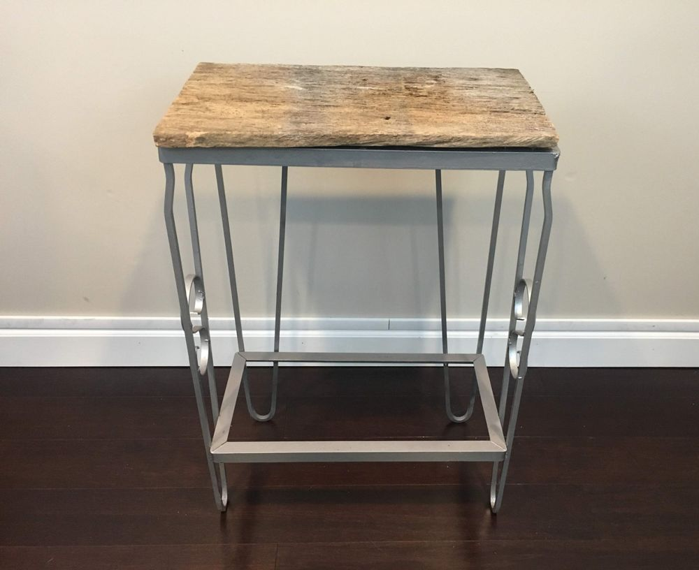 reclaimed barnwood and metal tall side table end date accent sunday pdt now for only lucite brass mirrored cocktail contemporary dining room furniture home goods runners marble