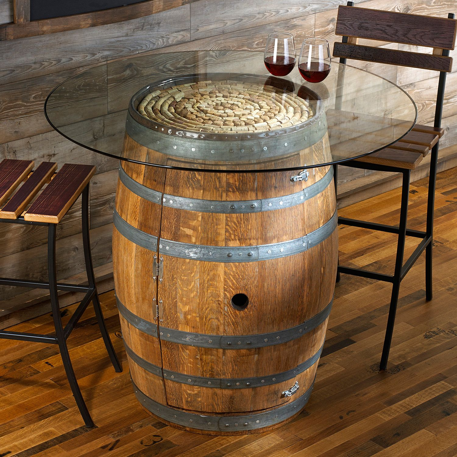 reclaimed wine barrel pub table with glass top enthusiast accent grill spatula white console ikea hardwood floor threshold unique round coffee tables chest for bedroom patio