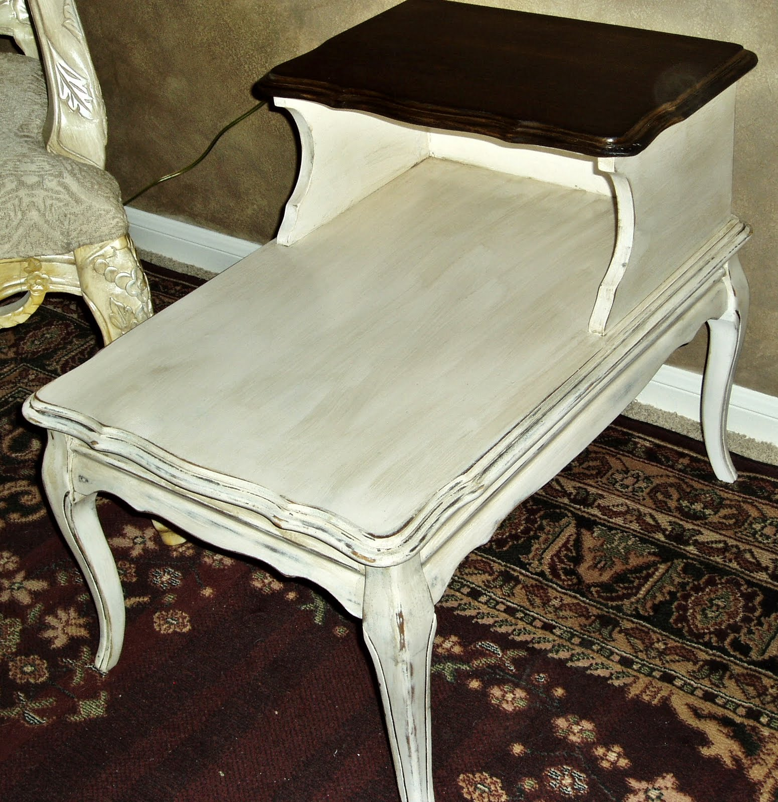 reclaimed wood accent table probably super great vintage step end faux painting furniture french country cream aged level provincial side gorgeous dark stained top with silky