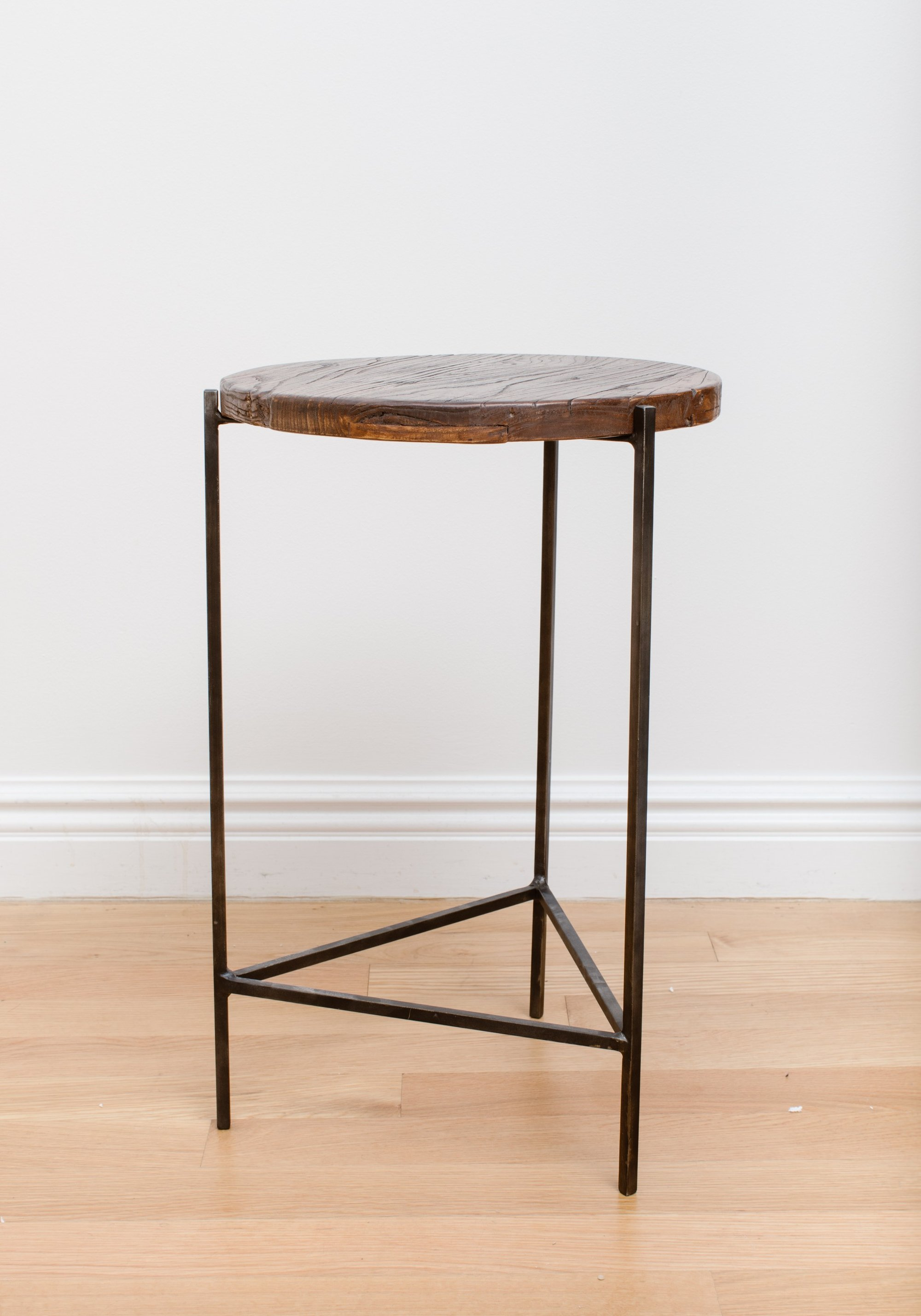 reclaimed wood circular side table the layer collective anton accent dining room chest dale tiffany floral lamp couch console grey mirrored bedside modern blue rustic white small