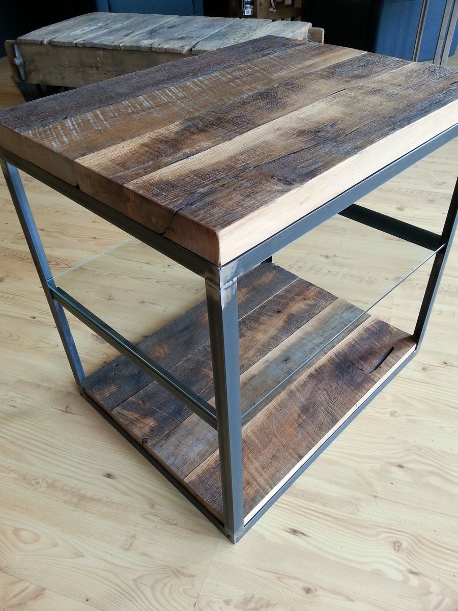 reclaimed wood furniture and barnwood custommade rustic accent tables hardwoods steel frame glass shelf end table small grey bedside marble top pedestal living room set coffee