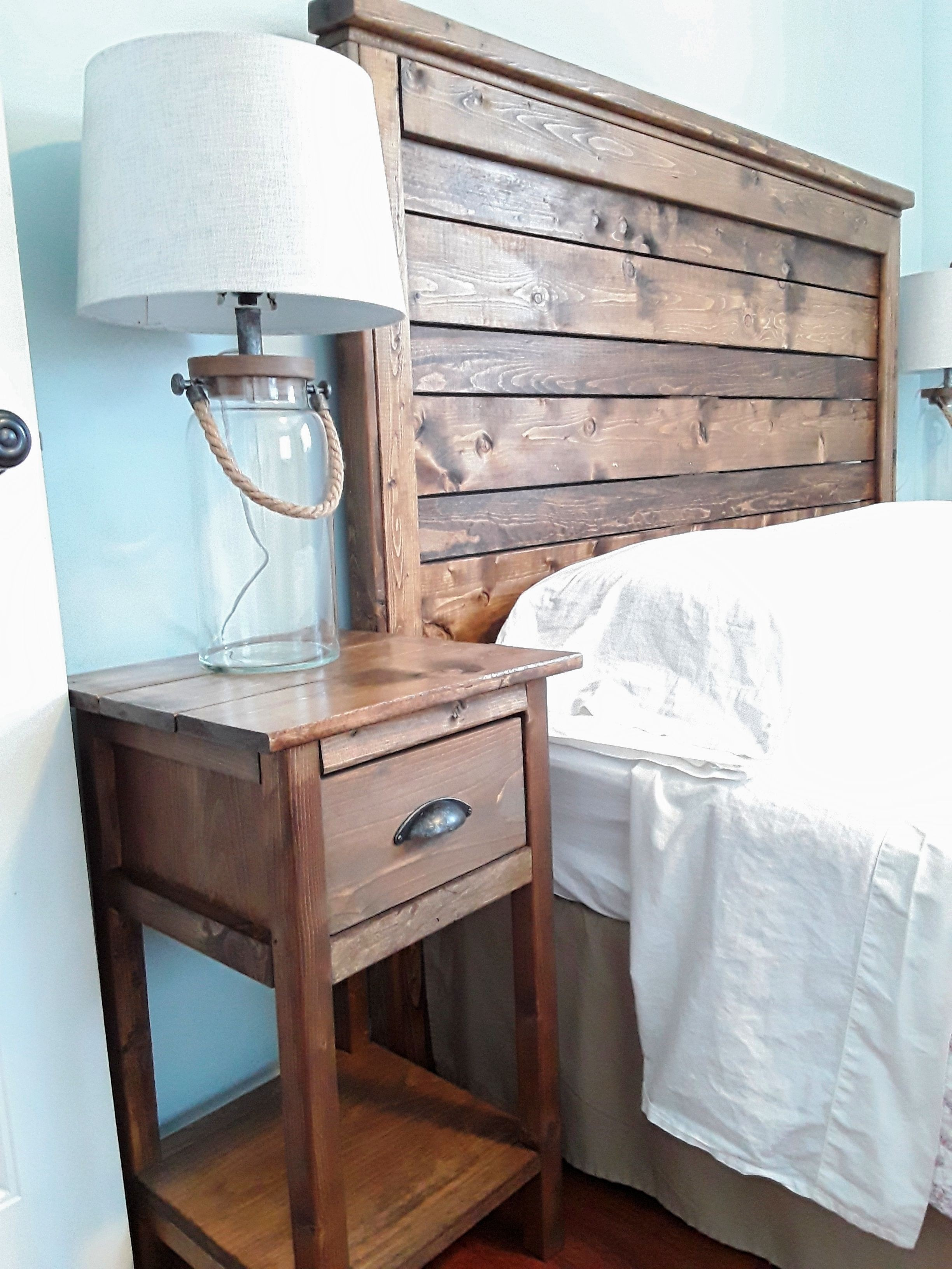 reclaimed wood headboard diy inspirational rustic accent table with power distressed tables square outdoor umbrella torch lamp butler style coffee inexpensive lamps side furniture