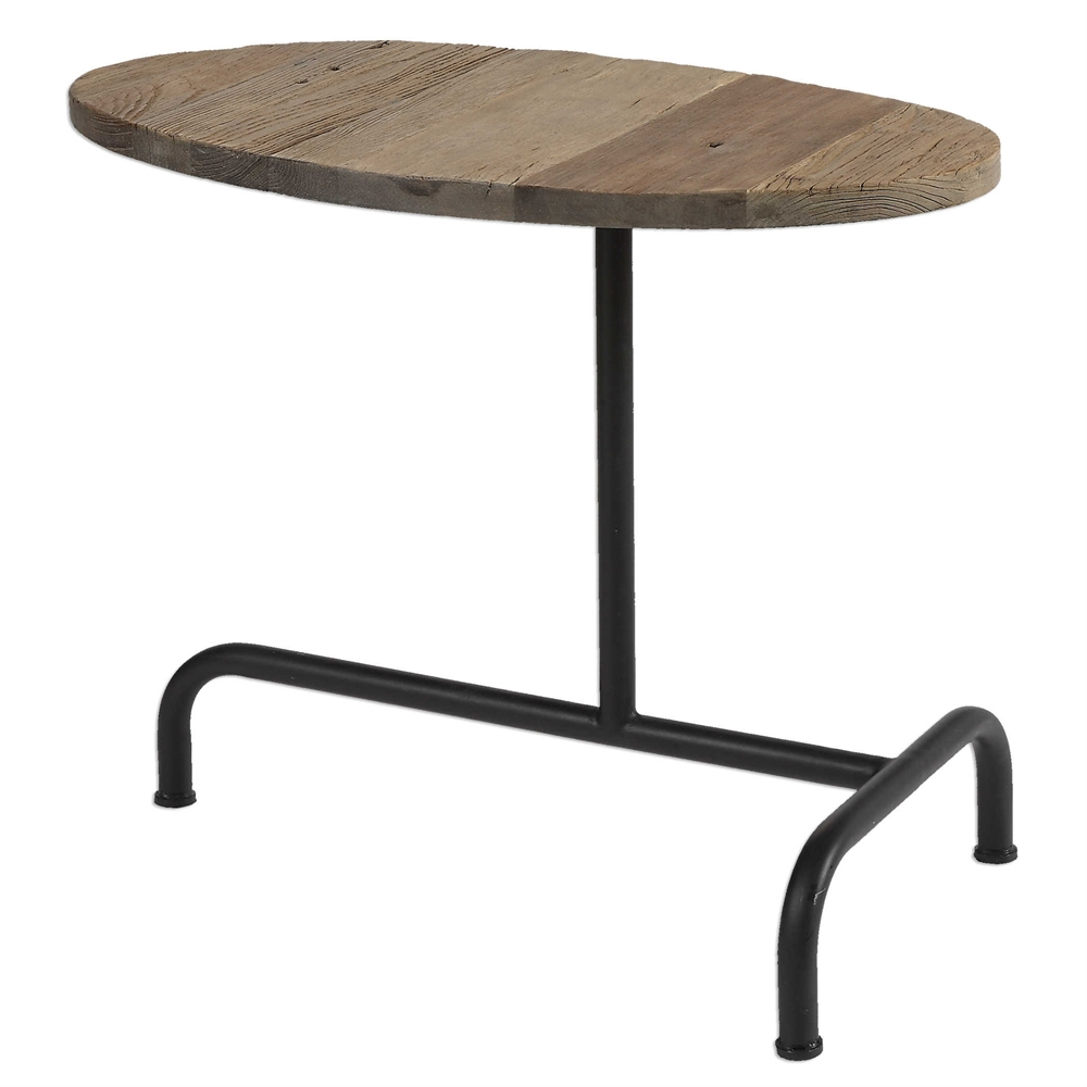 reclaimed wood iron industrial accent side table west elm marble console furniture inch round plastic tablecloths with wine rack underneath concrete home goods decor couch ikea