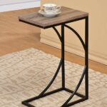 reclaimed wood look finish black frame snack side faux accent table magazine end kitchen dining aluminum coffee outdoor bistro circular drop leaf solid cherry tables battery 150x150