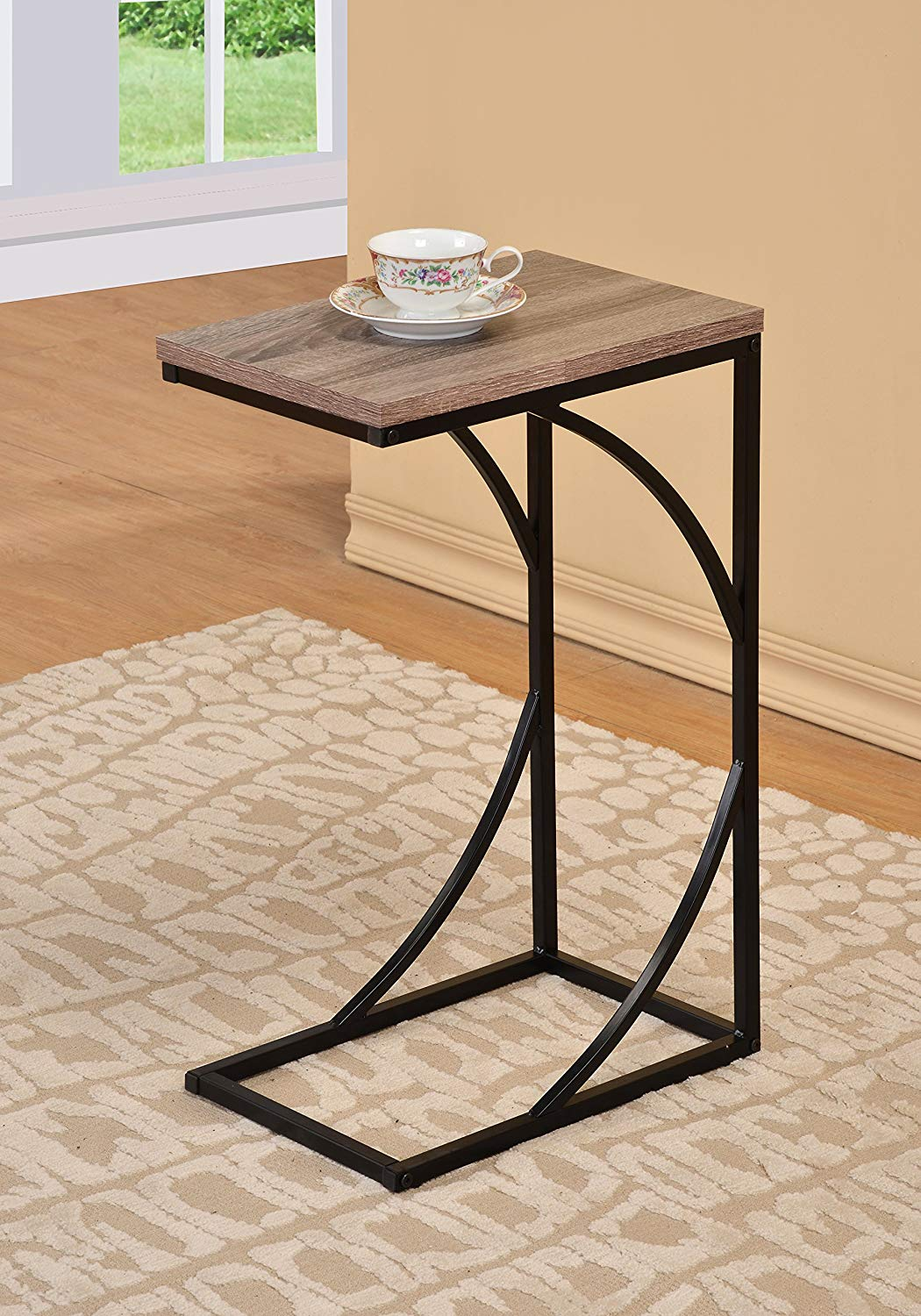 reclaimed wood look finish black frame snack side faux accent table magazine end kitchen dining aluminum coffee outdoor bistro circular drop leaf solid cherry tables battery
