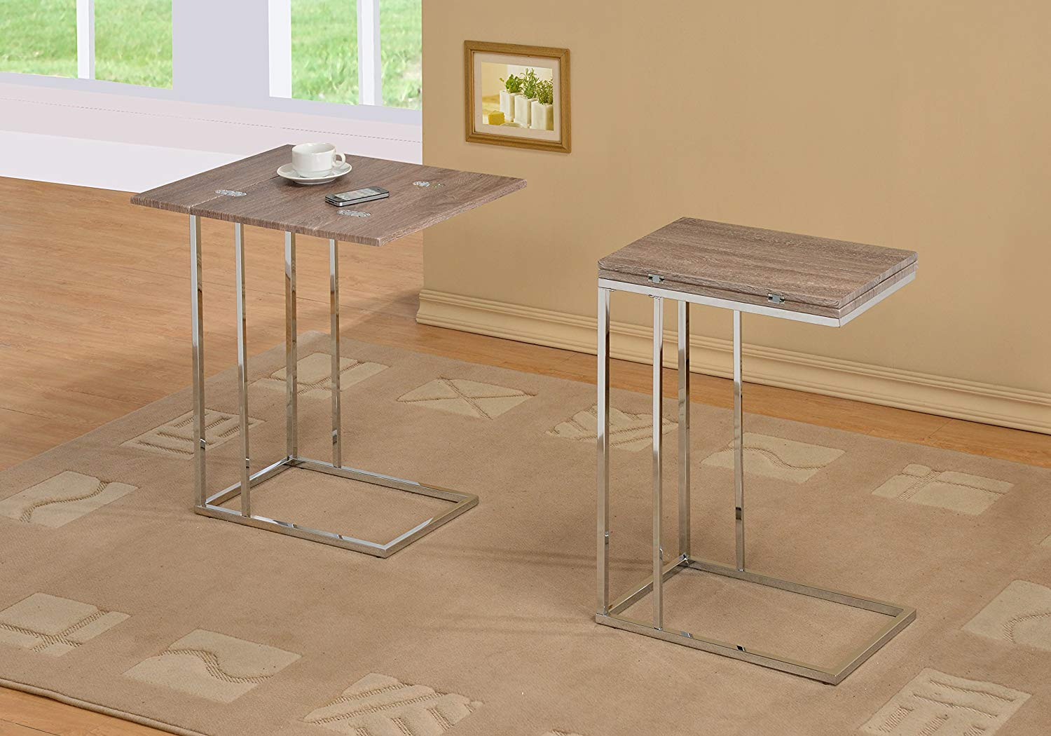 reclaimed wood look finish expandable snack side end mini accent table ehomeproducts kitchen dining ballard designs round mirrored large counter height danish modern breakfast set