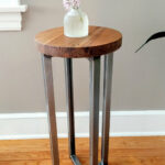 reclaimed wood round side table accent end outside metal and diy wrought iron tables legs for computer furniture patio seating sets antique oval long outdoor storage cupboard 150x150