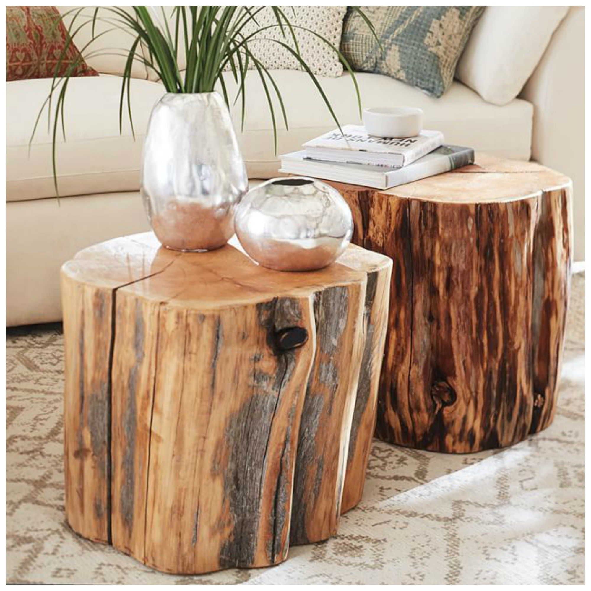 reclaimed wood stump end tables pottern barn splurge for the slice accent table card and chairs target teak block coffee marble dinner bistro cover outdoor metal patio set clear