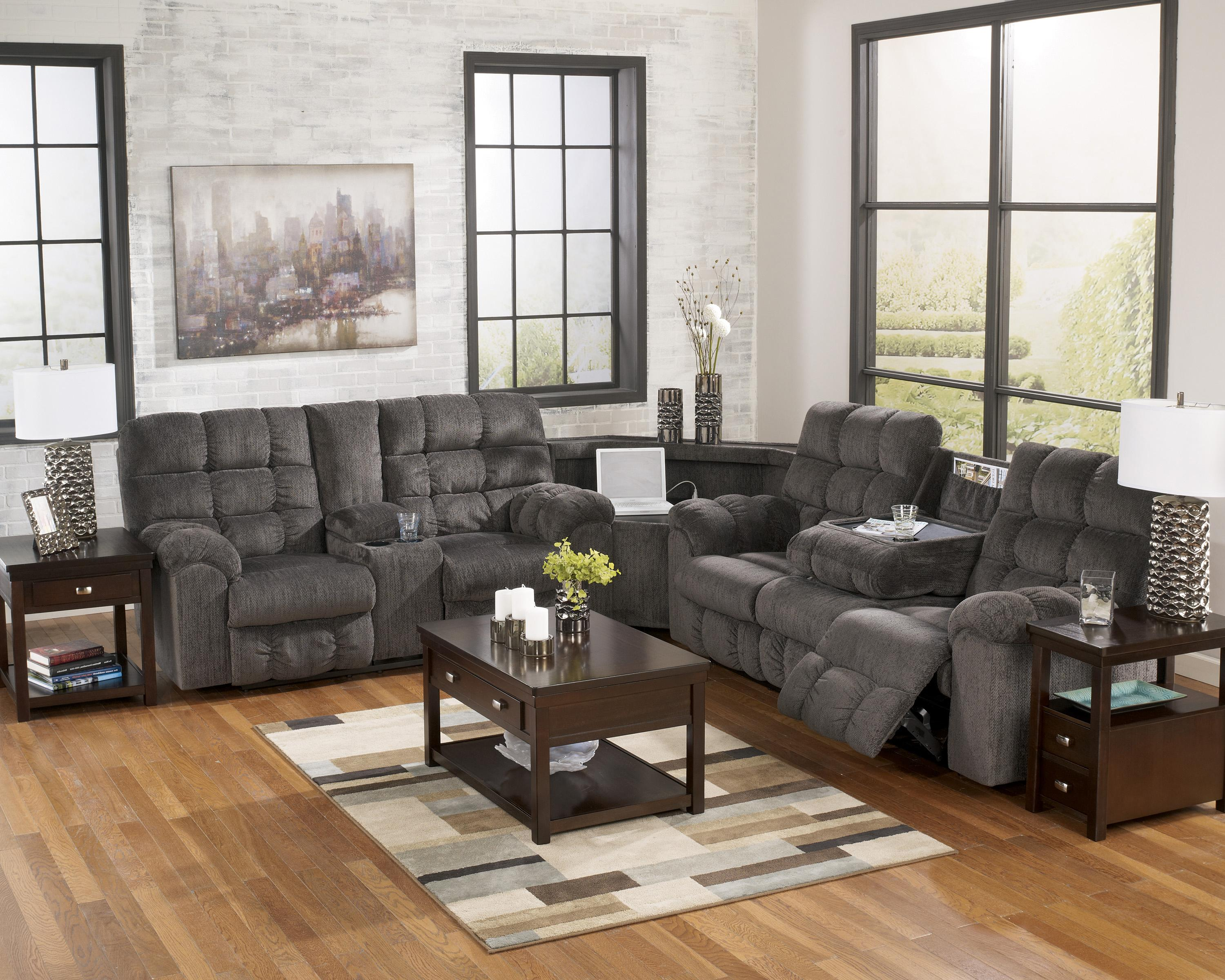 reclining sectional with left side loveseat cup holders and products signature design ashley color acieona accent tables charging station wolf gardiner furniture small stained