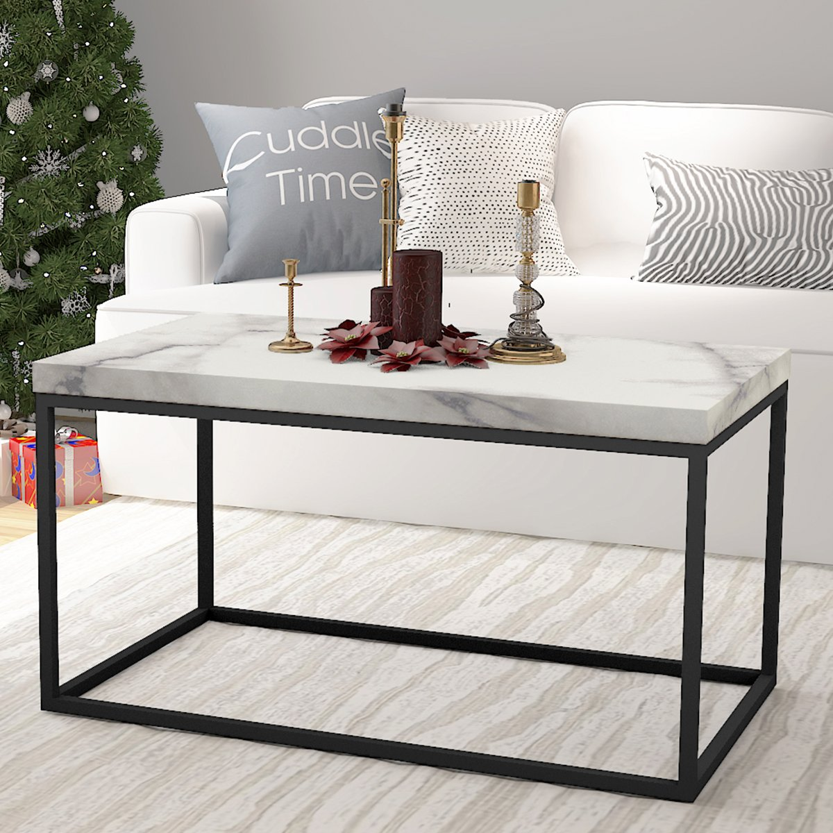 rectangle cocktail table find room essentials white accent get quotations roomfitters faux marble top coffee living metal glass side ikea lounge ethan allen console house
