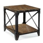 rectangular end table with rustic iron legs magnussen home wolf products color pinebrook small accent furniture gray nightstand teak patio headboard shelves hampton bay lounge 150x150
