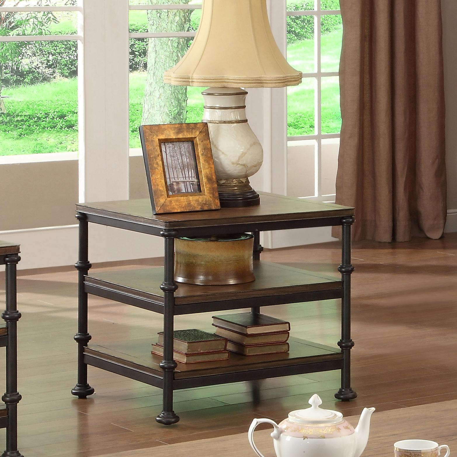 rectangular end table with shelves riverside furniture wolf products color camden town gold decorations glass coffee wrought iron legs inch round tablecloth fits what size old