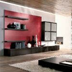red accent tone and black floating shelves for modern living room storage furniture ideas with low height coffee table farmhouse dining buffet sea themed bedroom used west elm 150x150