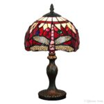 red blue tiffany style stained glass dragonfly table accent lighting lamp bedside light jeweled small wrought iron side nesting tables pottery barn dining bench corner set west 150x150