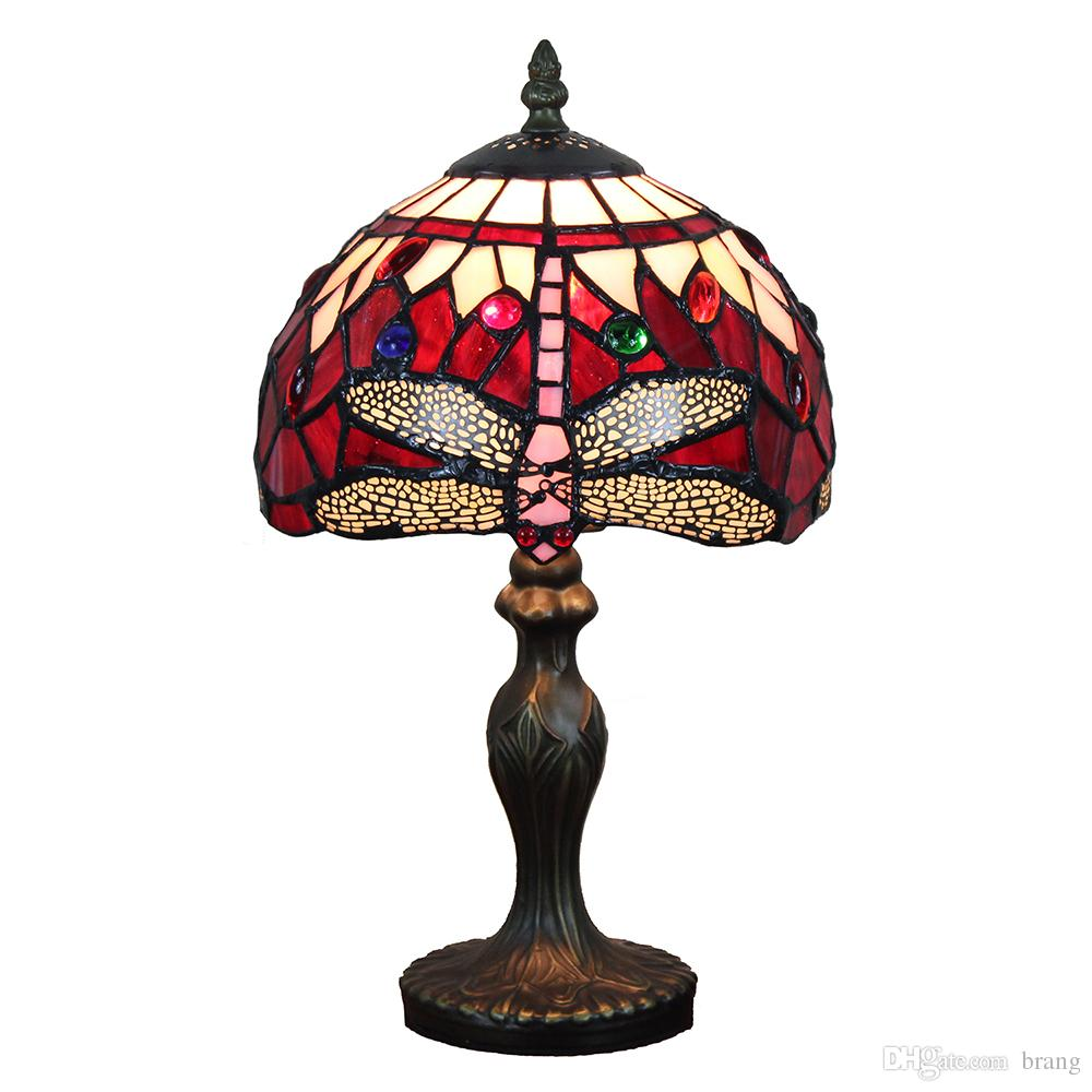 red blue tiffany style stained glass dragonfly table accent lighting lamp bedside light jeweled small wrought iron side nesting tables pottery barn dining bench corner set west