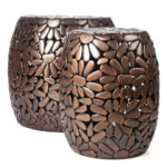 red fig home accent table set two aluminum end tables with rustic pedestal side round small bedside entryway sofa room decor corner entry patio umbrella solar lights white coffee 150x150