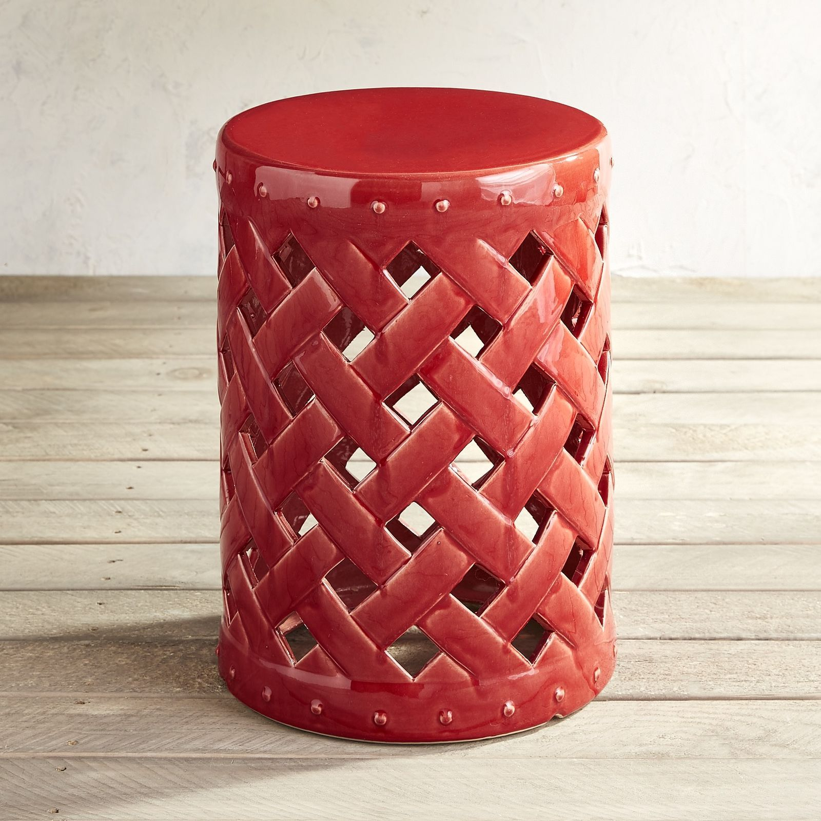red lattice garden stool spencer ave accent table pier imports large antique wall clock wicker furniture custom butcher block countertops small dining with leaf dark mango wood