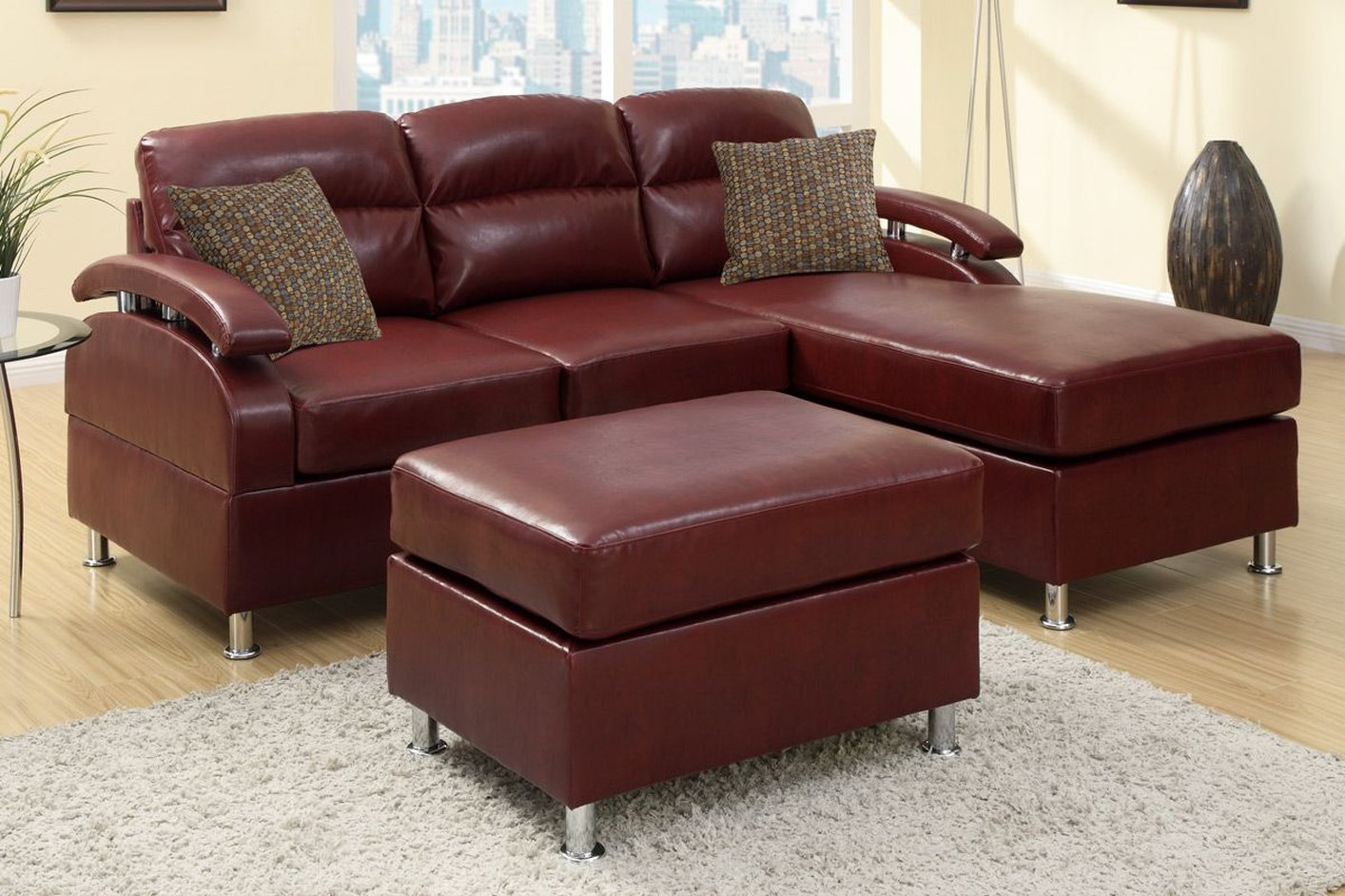 red metal sectional sofa and ott steal furniture burgundy bonded leather with kade accent table solid cherry kitchen bird ikea wall cabinets bedroom gazebo marble bistro