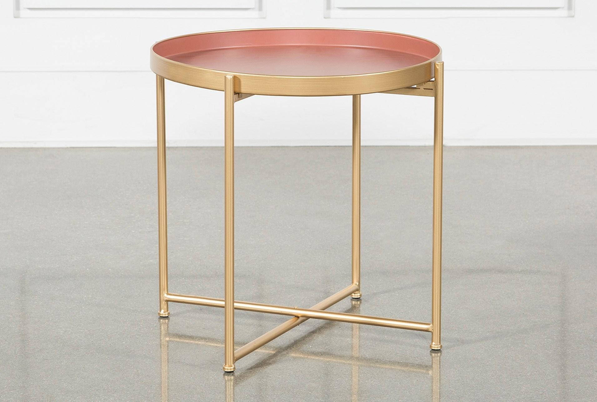 red short accent table living spaces pink metal signature qty has been successfully your cart folding patio dining home goods wall art wood card pair lamps narrow sofa behind