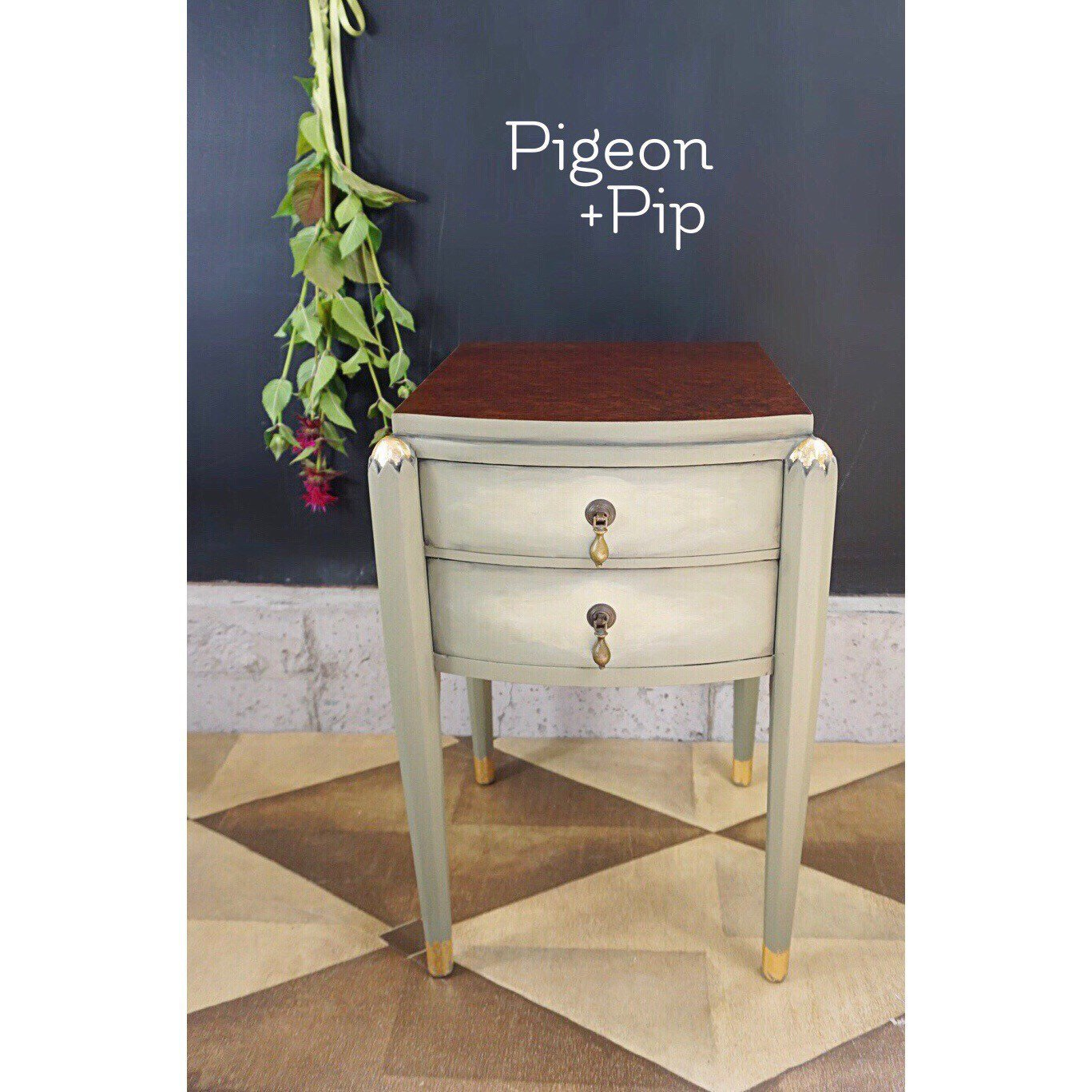 refinished antique accent table painted annie sloan chateau grey fullxfull wood birdseye veneer gold leaf little glam your home buffet lamps inexpensive legs monarch homesense