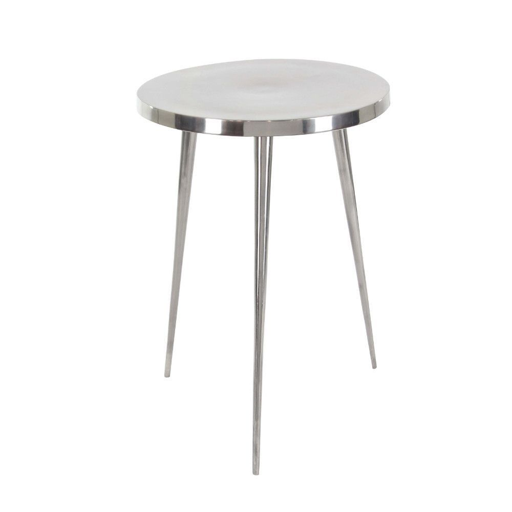 reflective silver aluminum accent table products pedestal pair lamps modern outdoor nic ikea chest drawers farmhouse style dining and chairs target windham cabinet stacking tables