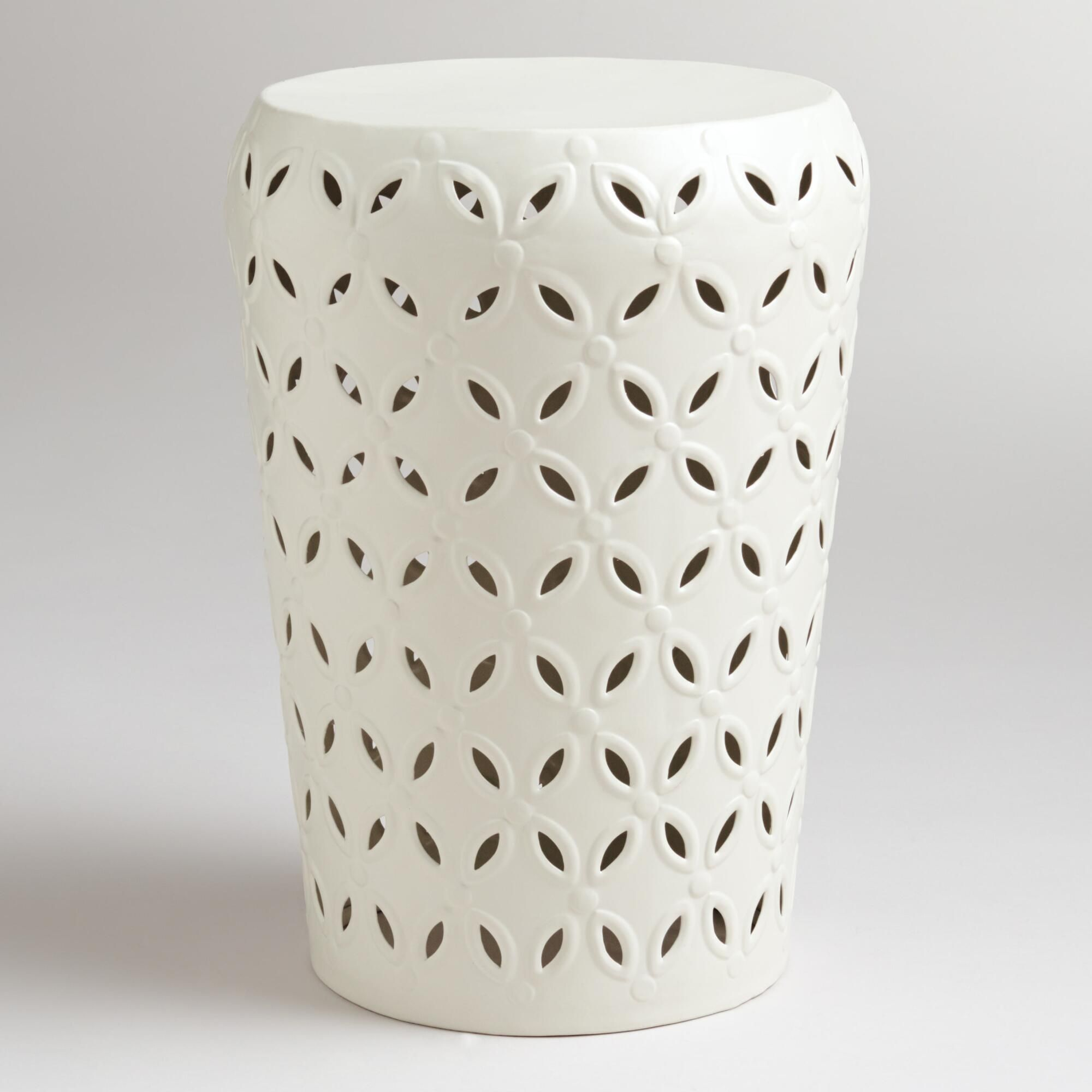 refresh your outdoor seating arrangement with our drum stool tibetan accent table embellished punched pattern around corner display cabinet glass top side cream lamp tables for