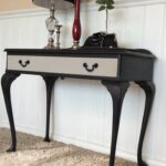 refurbished antique queen anne console table black chalk painted end makeover and paris grey the drawer follow small marble top accent affordable kitchen cabinets christmas round 150x150