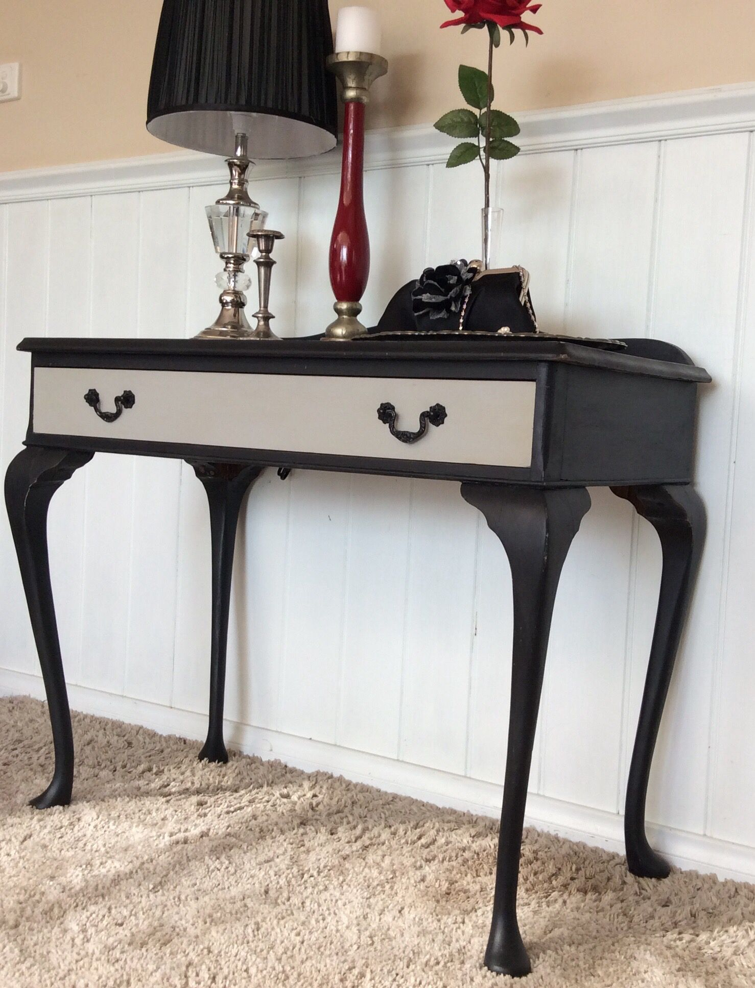 refurbished antique queen anne console table black chalk painted end makeover and paris grey the drawer follow small marble top accent affordable kitchen cabinets christmas round