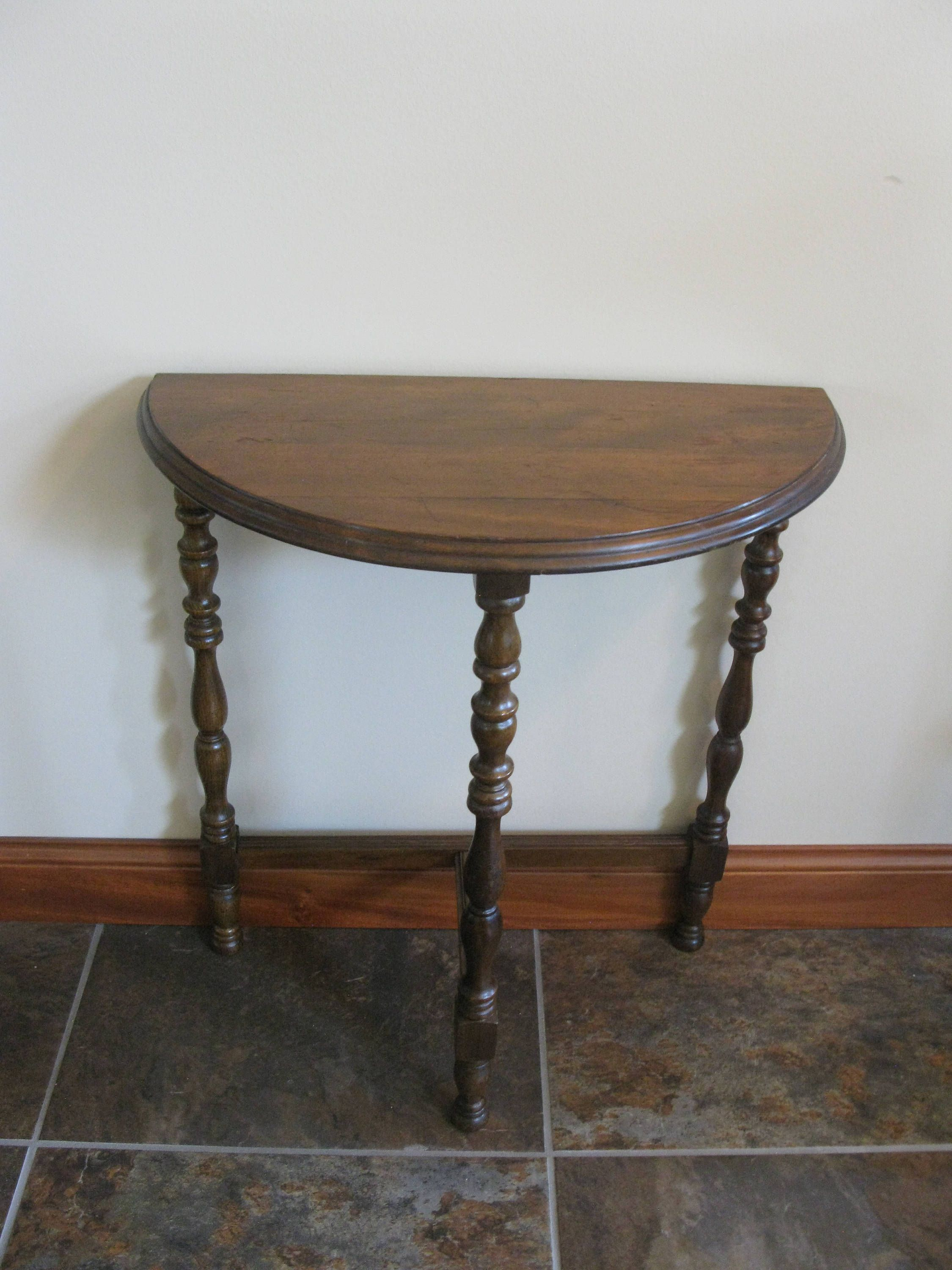 refurbished furniture probably perfect nice antique wood end vintage half moon side table legged small tables turned legs walnut stain round edge accent oakiesclaptrap etsy oval