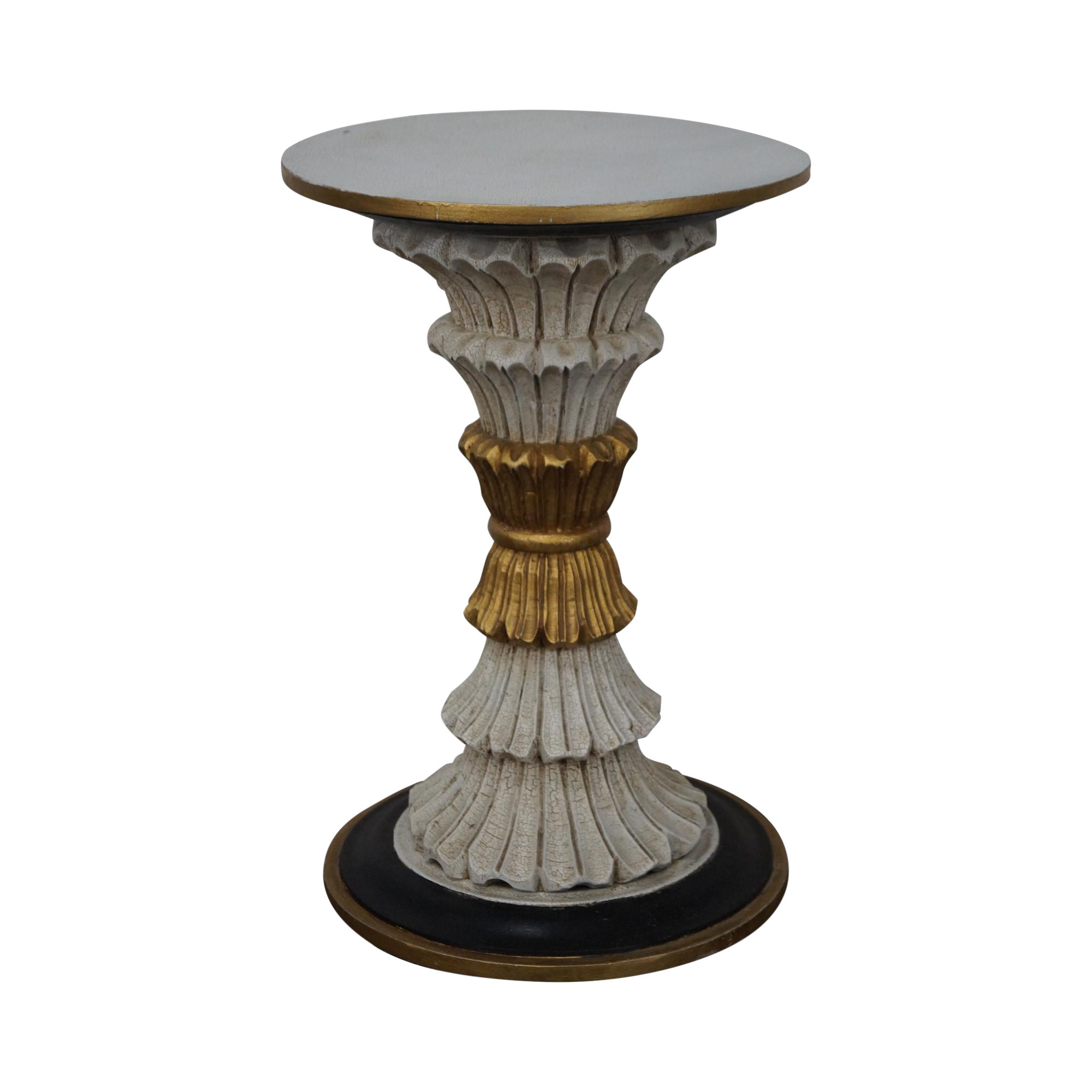 regency style painted gilt accent round pedestal stand chairish and antique table christmas tablecloths napkins target sofa tables furniture stacking ikea mango dining with