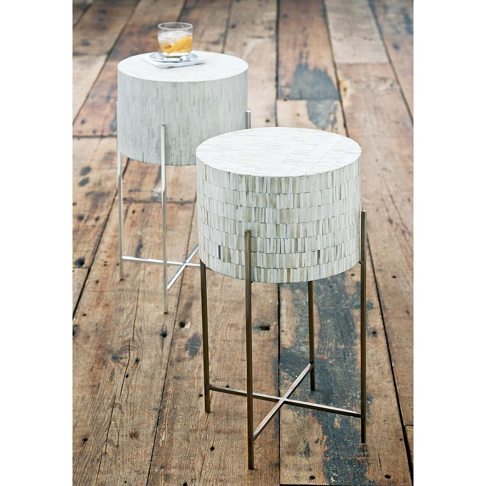 regina andrew bone drum side table antique brass accent outdoor wicker furniture bbq prep torchiere floor lamp screw wooden legs cool end ideas farmhouse chairs dining set inch
