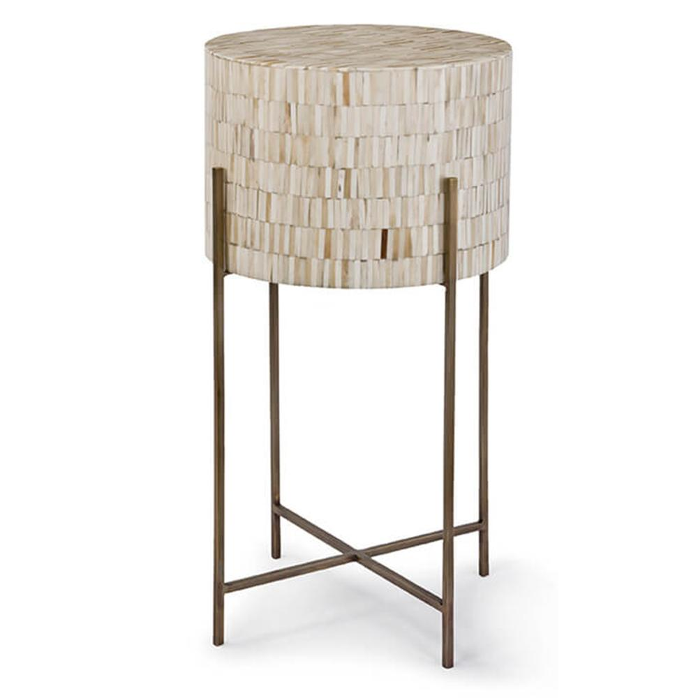 regina andrew bone drum side table antique brass accent small outdoor bench pub and chairs modern farmhouse coffee wicker furniture crystal base lamp work black gold round topper