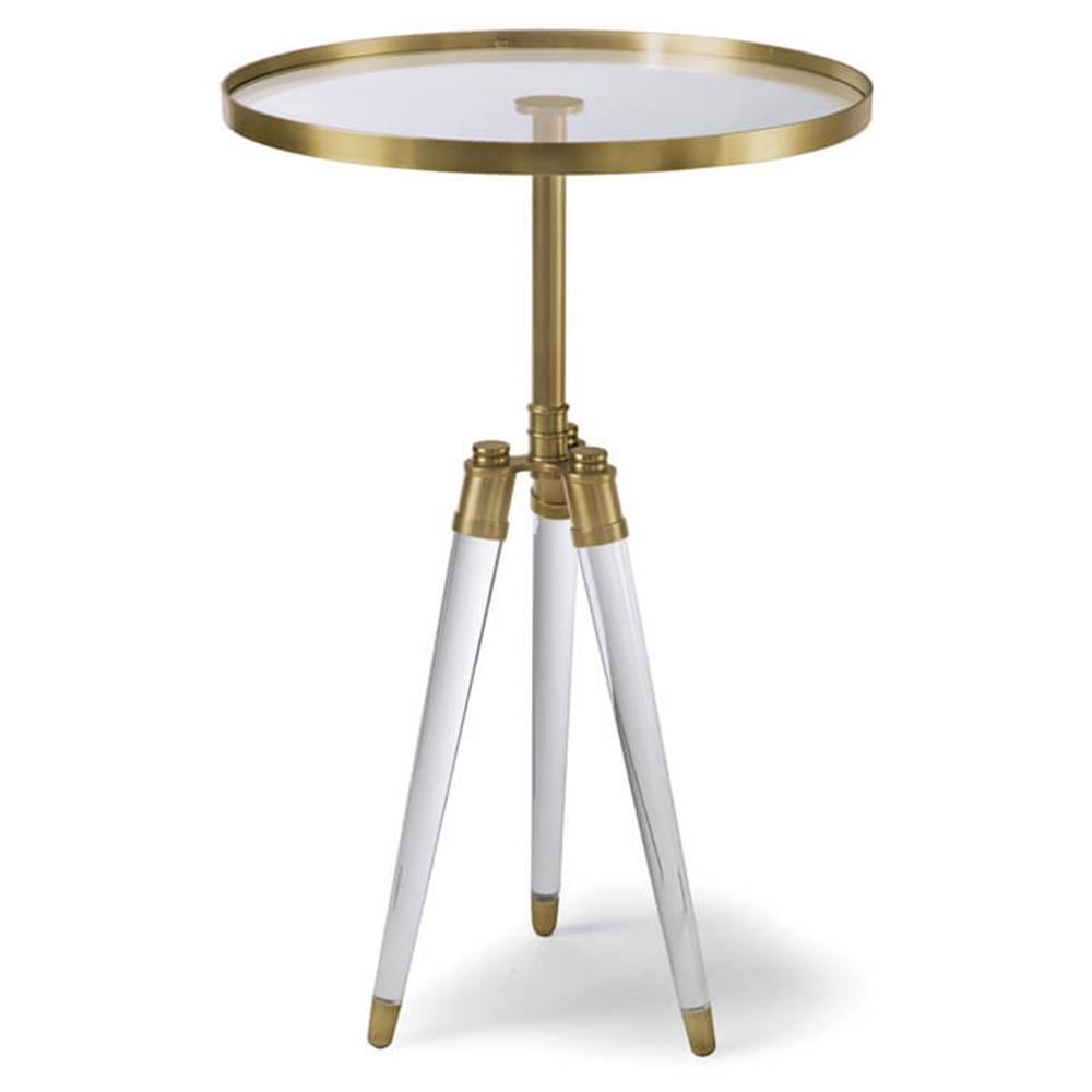 regina andrew brass acrylic tripod accent table high back dining chairs tall round kitchen bridal shower registry hardwood door threshold furniture wellington storage for small