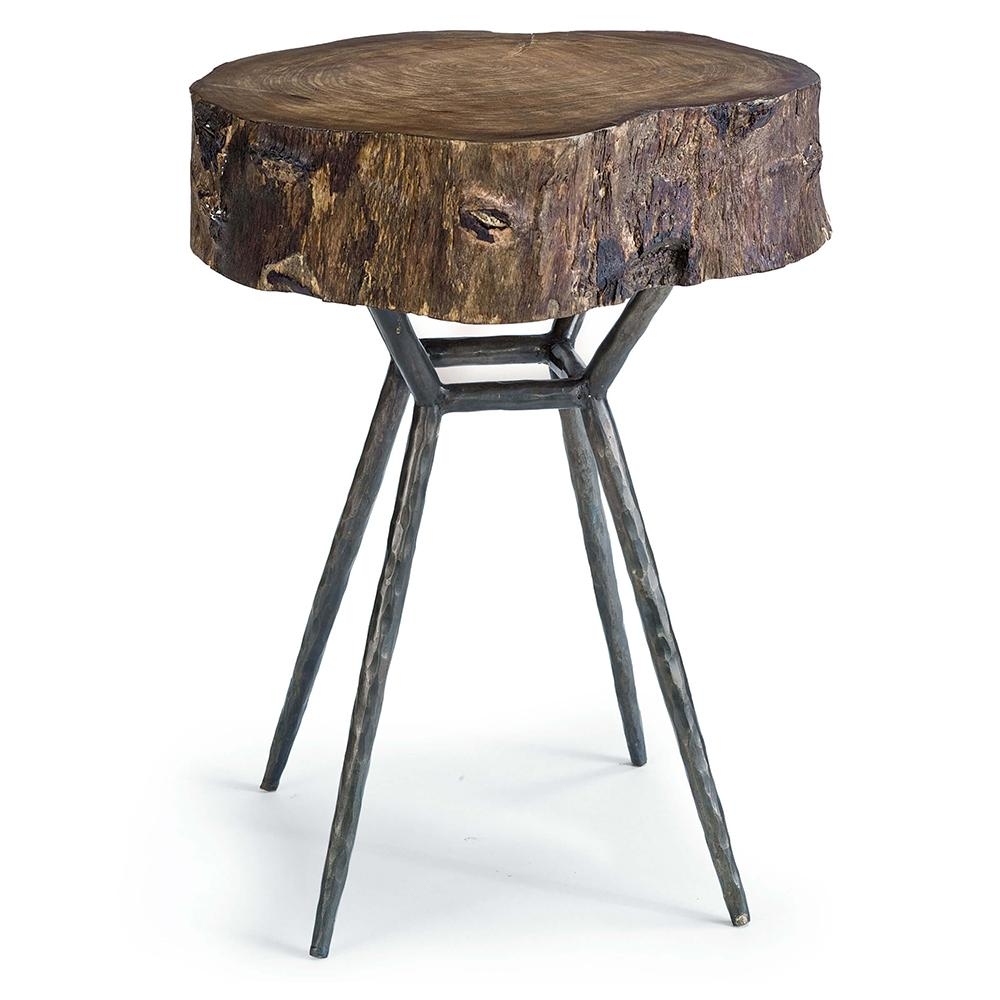 regina andrew petrified wood accent table with iron legs unfinished dining chairs pier one mirrored end lighting seattle extra large tablecloths narrow console inches deep mudroom